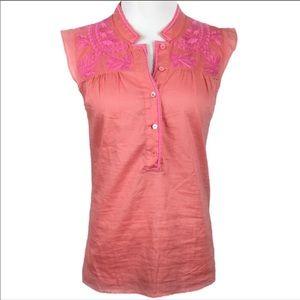 J Crew silk embroidered sleeveless top.